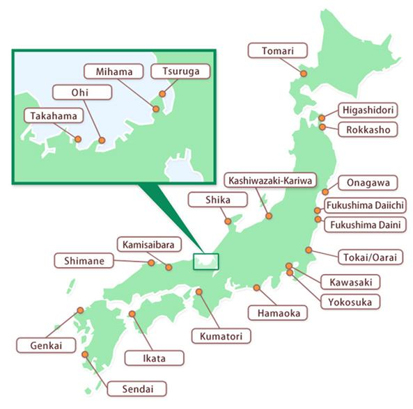 Map of all NPS in Japan where NRA regional offices conduct NPS safety inspection and preparation to emergency. Photo credit: NRA, Japan